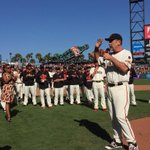 Both Bochy and Vogey address the crowd post-game. #SFGThanks #SFGiants http://t.co/osAR3571Dm