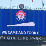 """The Rangers responded to the Astros """"Come and Take It"""" campaign after they won the AL West. http://t.co/mathncs6fv http://t.co/mHPE7IOjm3"""