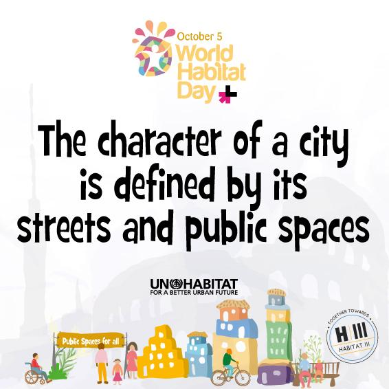 """The character of a city is defined by its streets, public spaces"" @Joanclos on #HabitatDay http://t.co/XR0TDIanGp http://t.co/1GpDnbf2k7"