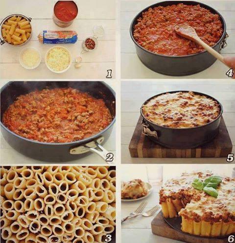 قالب المعكرونة: أنت بحاجة إلى باستا، حشوة اللحم مع صلصة الطماطم وجبن مبشور  #غرّد_بصورة #وصفه #السعودية http://t.co/i6LyGHLbXx