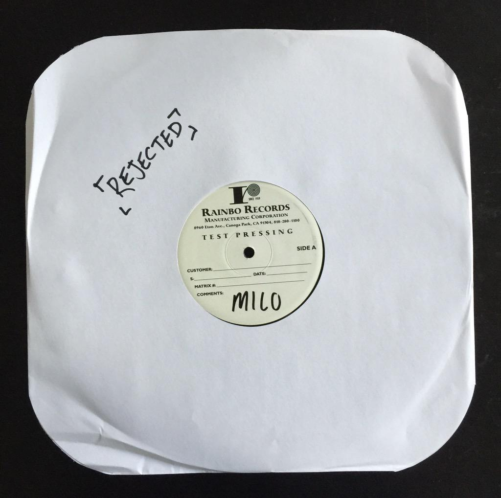 "Retweet this and we'll pick a random winner to mail this #rejected Milo ""So The Flies Don't Come"" test pressing to. http://t.co/m0BZ7gApGu"
