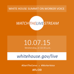 Tune in TODAY at 10:30am to the White House Summit on #WorkerVoice live stream and follow along using #StartTheConvo http://t.co/x5EyMzM6Do