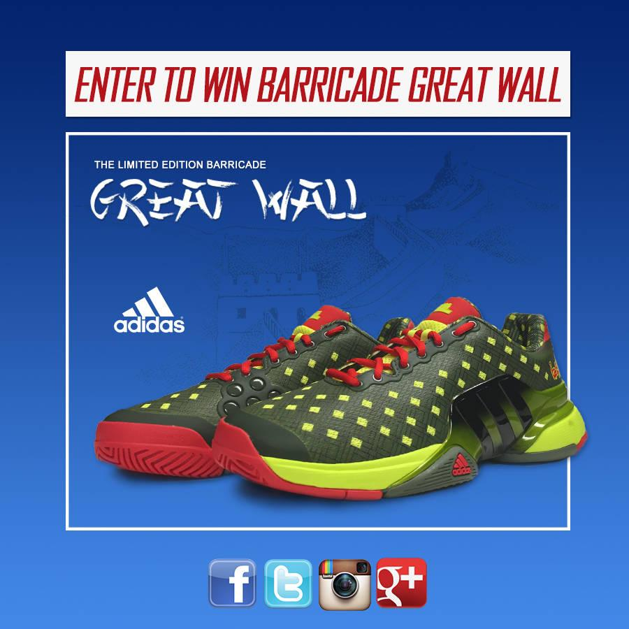 Celebrate tennis's Asian swing by winning a pair of @adidastennis Barricade Great Wall tennis shoes. RT to win!!!! http://t.co/erkGsxTEuu