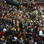 Packed house at the @TheQArena for @cavs #WGScrimmage http://t.co/K2stLm04lM