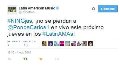 ¡No te pierdas a @PonceCarlos1 en los @LatinAMAs! Jueves 8 de octubre, 8pm/7c por @Telemundo #LatinAMAs http://t.co/XWvJPCsecz