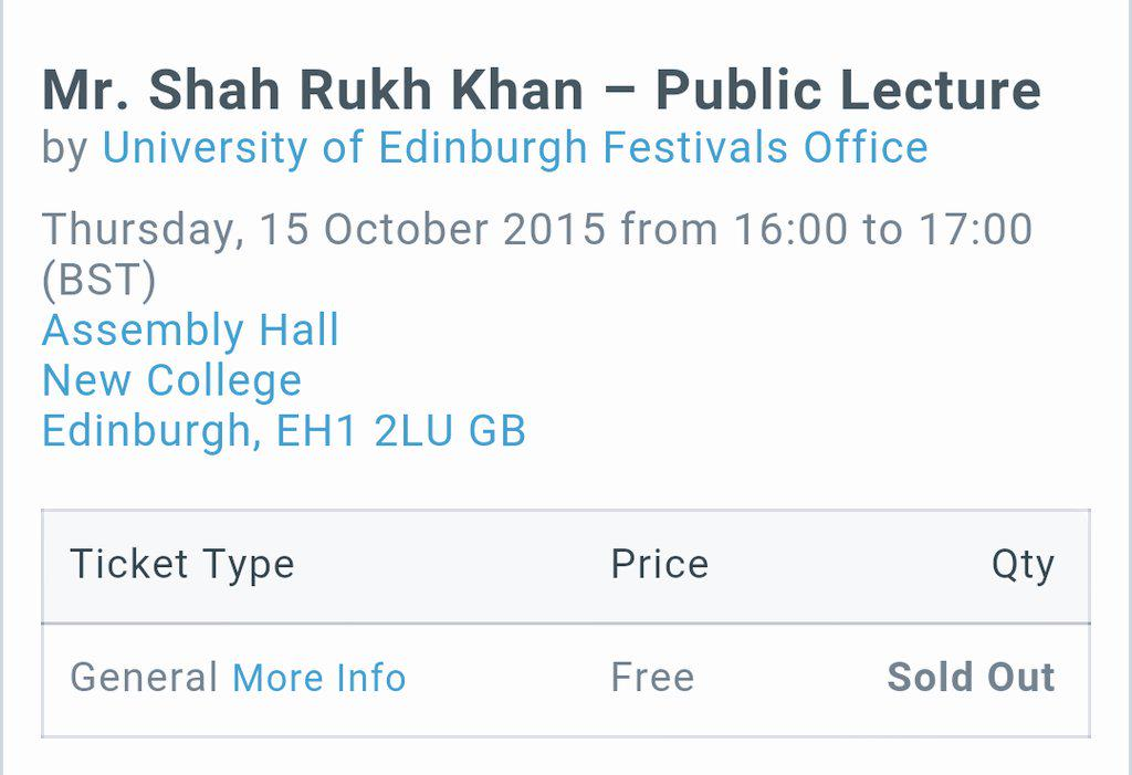 #SRKEdinburghUni public lecture event is sold out! Way to go! Come & make history with your life lessons, @iamsrk! http://t.co/54BC6T5Ilh
