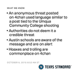 There's a 4chan post threatening Austin similarly to the #UCCShooting message. But authorities say it isn't credible. http://t.co/7wsT7b15vv