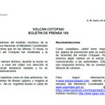 #VolcánCotopaxi Compartimos el boletín de prensa No. 105 acerca de la actividad del #VolcánCotopaxi. http://t.co/YceCmp9Vny