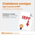 Ciudadanos aconsegueix que la Junta de Andalucía baixi lIRPF. Logrem en 6 mesos el que no sha fet en 33 anys. http://t.co/n9y7zrpqrN