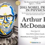 Canadian Arthur B. McDonald ½ #NobelPrize in Physics @queensu http://t.co/luYzftjl0o