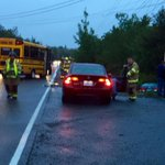 Crash on prospect road between small school bus and car. No children on board.#cbcns http://t.co/3RLnsyn0mT