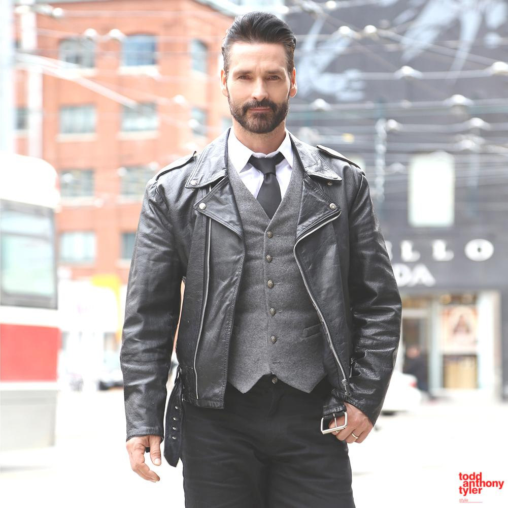 One of my fav looks - the biker jacket/tie combo -suited and booted with a touch of rebel @FitforFashionTV