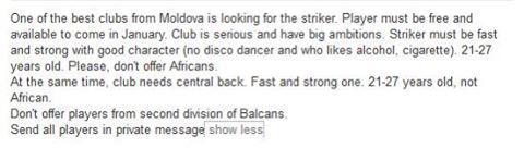 "Moldovan football club looking for a striker using LinkedIn. ""Don't offer africans, smokers or drunkards"", they say! http://t.co/0m4hBiUlhk"
