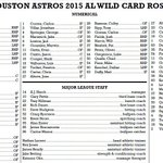 #Astros set 2015 AL Wild Card Roster. This is for tonight's game only vs. Yankees. http://t.co/RPHBWyuGFu