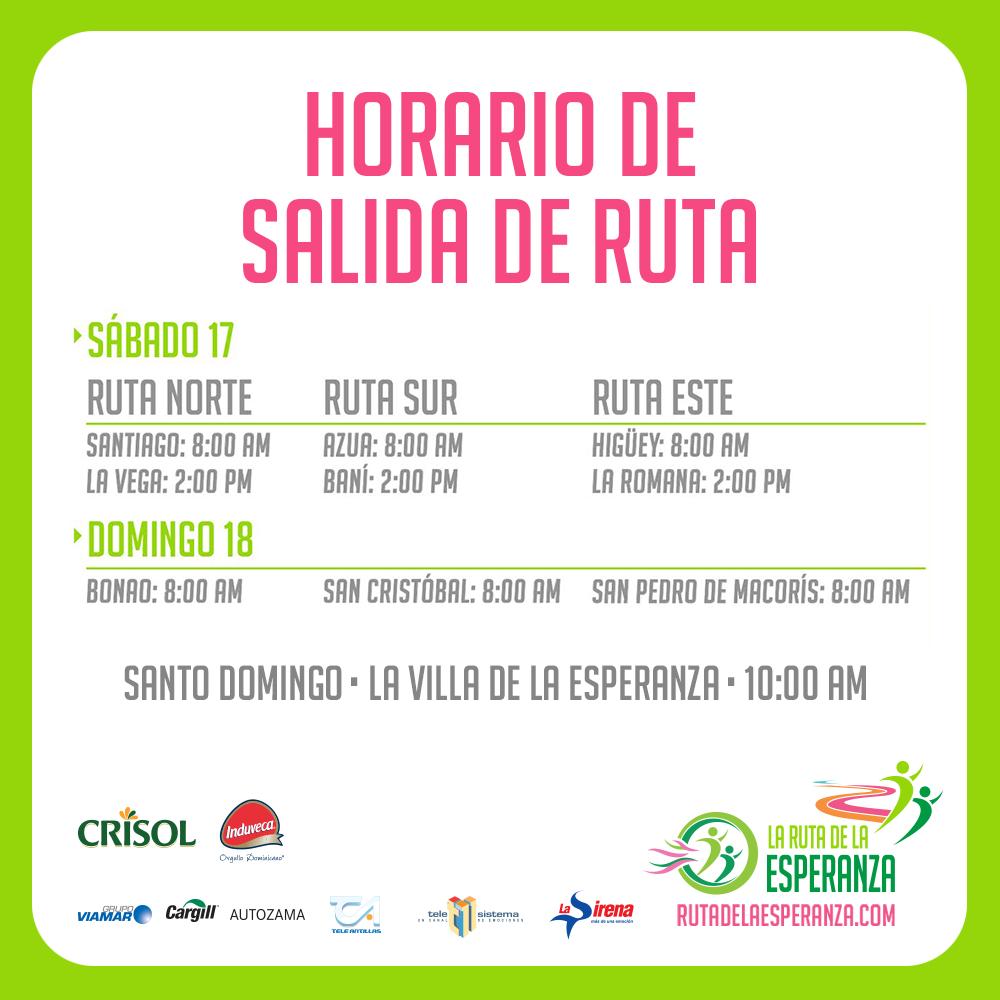 Horarios de salida de cada una de las rutas en las provincias participantes de #LaRutadelaEsperanza. http://t.co/YiSSRAVhyY