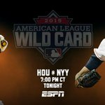 Watch the #Astros take on the Yankees in the AL #WildCard game tonight at 7 CT on ESPN. #HustleTown http://t.co/GIXkTPVJPW