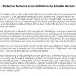 Podemos lamenta el no definitivo de Alberto Garzón http://t.co/fgxDE7o1tZ http://t.co/7JnEBu6ufH