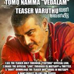 #Vedalam Teaser from Tomorrow .. Dont download it .. Share the link through FB , Whatsup , twitter .. http://t.co/4iV9tcjtg5