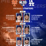 It's official. Here are your starting pitchers for the first three games of the NLDS between the #Dodgers & #Mets. http://t.co/5kfx7UvRnD