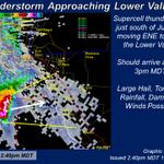 240pm: Supercell over S #Juarez heading twrd Lower Valley again. Hail/Dmg Wind likely. #ElPaso #TXwx http://t.co/j9oGorSbFo
