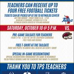 #SuccessTPS teachers, dont forget to get your tickets for Saturdays football game at @utulsa! http://t.co/nnTFZFEeIT