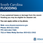 If you were impacted by floods in SC, apply for assistance at http://t.co/gryh5A6N9X or call 800-621-3362. #SCFlood http://t.co/yaWtwAKj1J