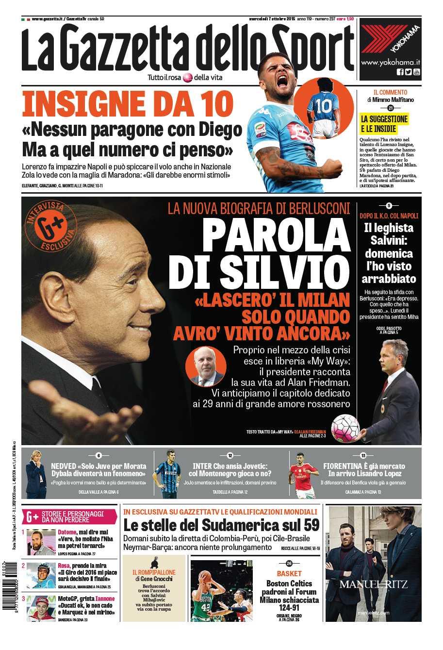 """La #primapagina di oggi: parla Berlusconi: """"Prima vinco, poi lascio il Milan"""" #Napoli Insigne da 10 come #Maradona http://t.co/8g8F2lPbY1"""
