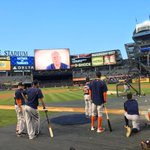 #Astros players waiting for their turn in the cage for BP at Yankee Stadium. #WildCard http://t.co/O4uodaR5Rb