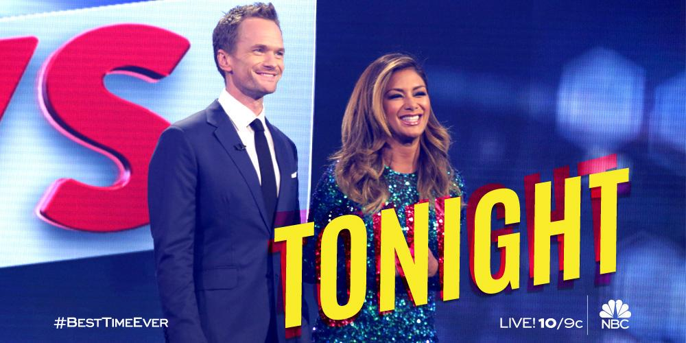 RT @nbc: .@SHAQ joins @ActuallyNPH, Little NPH and @NicoleScherzy for the #BestTimeEver – LIVE! Tonight at 10/9c on NBC. http://t.co/clQ2CV…