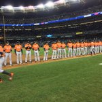 #Astros introductions on the field for the #WildCard Game. Orange jerseys tonight! #HustleTown http://t.co/CNUrDDp05a