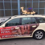 How nice to receive a friends picture of a Taxi promoting Jordan in Munich...Good morning world. http://t.co/fgsbqxFB8u