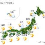 【全国の天気】(7日18:00) http://t.co/x7YRCRPFtj あすは、台風23号が日本の東を北上し、夜には北海道に近づく見込みです。北海道は昼前から雨で、非常に激.. http://t.co/8E5jc5qD4f