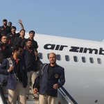 @ACBofficials team arrived, Bulawayo,Zimbabwe,for ODI and T20I matches, while warmly welcomed by people. @ZimCricketv http://t.co/p2nEKOA0IJ