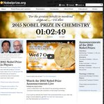 #Countdown Only 1 hour left before the 2015 #NobelPrize in Chemistry is announced – tell your friends! http://t.co/wFS2r5Sveh