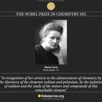 #NobelFacts 1ST nominated woman for Chemistry is Marie Curie in 1911 (awarded #NobelPrize in 1911) http://t.co/mNCEVEckHw