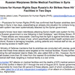 Breaking: @P4HR accuses Russia military of striking three medical facilities in Syria in two days http://t.co/2RsJhDgv2e