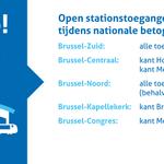 Let op! Enkel deze toegangen in de Brusselse stations blijven vandaag open tijdens de nationale betoging. #NMBS http://t.co/OLRkbi3Mhq