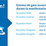 Attention! Seules ces entrées des gares de Bruxelles resteront auj. ouvertes pendant la manifestation nationale #SNCB http://t.co/XcPs3jK8YH
