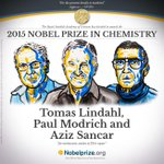 The 2015 #NobelPrize in Chemistry is awarded to Tomas Lindahl, Paul Modrich and Aziz Sancar: http://t.co/f0m1LDDFhr