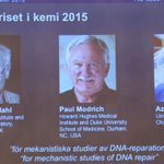 Нобелевская премия по химии присуждена Томасу Линдалю, Полу Модричу, Азизу Санкару за молекулярный механизм репарации http://t.co/jADHdH9p7f
