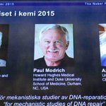 Scientists win 2015 Nobel Prize for Chemistry for work on DNA repair http://t.co/xmMb2xUAm0 http://t.co/IItDcBIGvJ