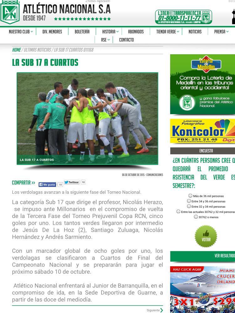 Atlético Nacional 8 - Millonarios 1.  Equipos Sub-17.   ¿Alguna duda? http://t.co/czOeMZlyOv