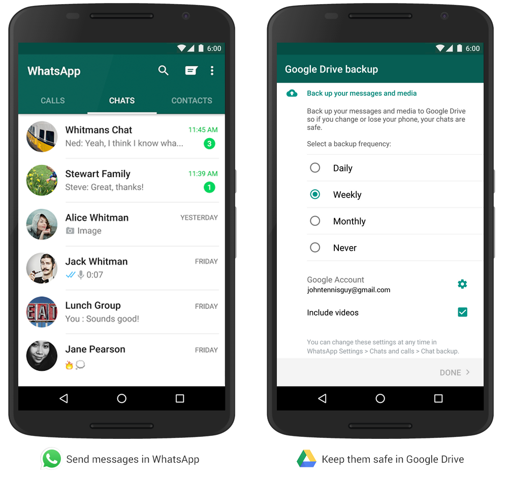 Back up your WhatsApp messages and media to Google Drive. Rollout starting today. Learn more: http://t.co/FT6wL2QrTA http://t.co/vPJH5zonoq