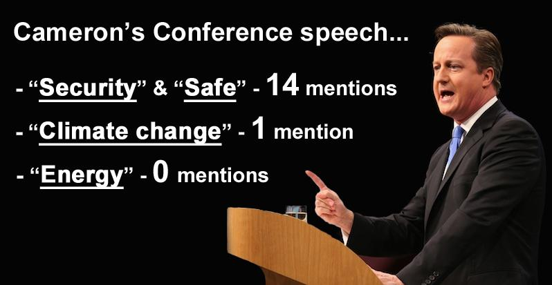 David Cameron IGNORES #energy & #climatechange in his #ConservativePartyConference speech - http://t.co/86OhkdjenL http://t.co/9XyFWr9wrw