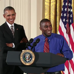 Terrence Wise #FightFor15 leader introducing @Potus and introducing his Mother a 2nd gen ff worker. #StartTheConvo http://t.co/lW4UT6ozAE