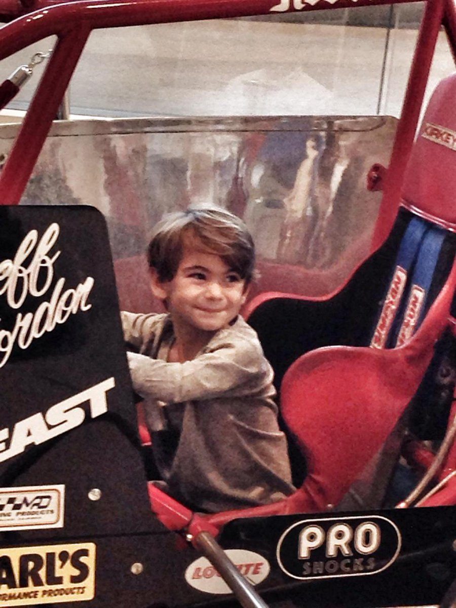 Present meets past. Leo Gordon tries out one of dad @JeffGordonWeb former entries @NASCARHall http://t.co/GRFFd2IdZn