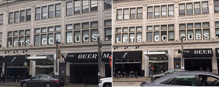 "A sneaky Cubs fan in Pittsburgh changed a ""Let's Go Bucs"" sign to ""Let's Go Cubs."" http://t.co/pkr6UiDgVc http://t.co/E5FHIzdhRd"