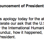 MSF Reaction to White House Announcement of President Obamas Apology to MSF Today http://t.co/qZHuXPbqeV
