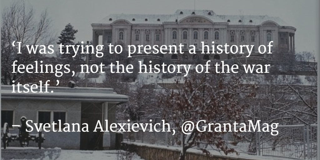 Congrats Svetlana Alexievich, winner of 2015 #NobelPrize in Literature. Read 'Boys in Zinc' http://t.co/SgXLS71PxJ http://t.co/iOMKWQH2aV
