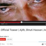 #VedalamTeaserBlast zooms past 1 Million views on @YouTube with a record 94K Likes in about 16 hrs.. http://t.co/ZDVXIswkPX